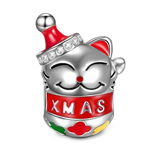 NINAQUEEN Pandora Charms angepasste Charm Geschenke für Frauen Katze Silber 925 Zirkonia Emaille Schmuck Damen mit Schmuckkästchen Damen Geschenke für Mama✿
