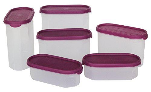 Princeware Modular Plastic Container Set, 6-Pieces, Violet