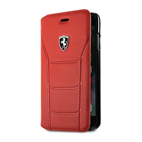 Ferrari - Funda tipo cartera para iPhone SE (2020) iPhone 8 y iPhone 7 (piel auténtica, con tarjetero, ranuras para débito o crédito, color rojo