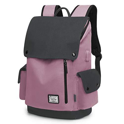 Wind Took Canvas Backpack Daypack 15 Zoll Laptop Rucksack Schulrucksack Tagesrucksack mit USB Anschluss für Uni Büro Alltag Freizeit, Rosa