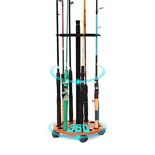 sunnybest ロッドスタンド 円形ロッドスタンド 移動でき(キャスター付き) 15本釣竿収納 ウッド製竿棚 ロッドホルダー 竿立て (ロッドスタンドー回転式)