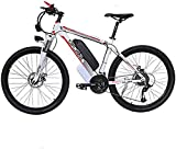 CLOTHES Bicicleta de montaña eléctrica, 48V Electric Mountain Bike 26 '' Fat Tire Choque E-Bici 21 Velocidades Frenos 10AH de Iones de Litio de Doble Disco de luz LED,Bicicleta
