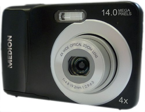 MEDION LIFE MD 86590 E43020 14MP HD Digitalkamera Schwarz 4-fach opt. Zoom ° HD Videoauflösung 720p ° 27 mm Weitwinkel-Objektiv