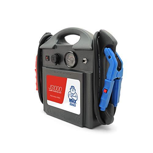 MAXTOOLS JS1000, Arrancador y Batería de Emergencia para Turismos y Furgonetas, 4140A, para Motores de Gasolina y Gasóleo, Jump Starter, Booster, con Linterna LED y Puerto USB