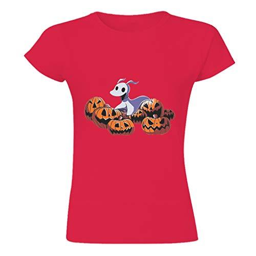 Rinvyintte Camiseta personalizada con calabaza y perro de Navidad Rojo rosso S