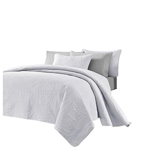 Chezmoi Collection Austin Bedspread Juego de Ropa de Cama de 3 Piezas Que Mide 3 m por 2.6 m, tamaño King, Blanco