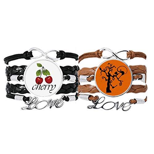 Bestchong Armband mit Katzenbaum für Halloween, Halloween, Hallowmas, Handschlaufe, Lederseil, Kirschen-Liebesarmband, Doppelset