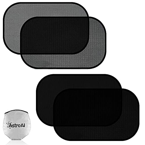 AstroAI Car Window Shade Car Sun Shade for Baby - 21' x 14' Side Window Sunshades - Sun, Glare and UV Rays Protection for Your Child - Fits Most of Cars (2 Pack Semi Transparent +2 Pack Transparent)
