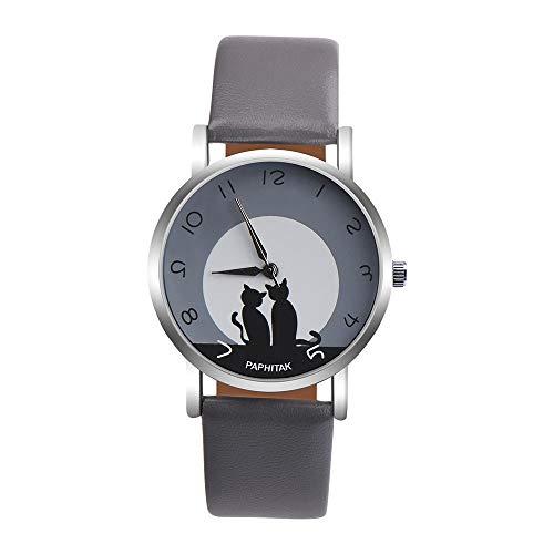 Paticess Watch,Damen Cute Katze Kunstleder Analog Quarz Uhr mit Leder Armband Einfach Casual Stil Damenuhr Einstellbar Uhrenband Geschenke Für Frauen