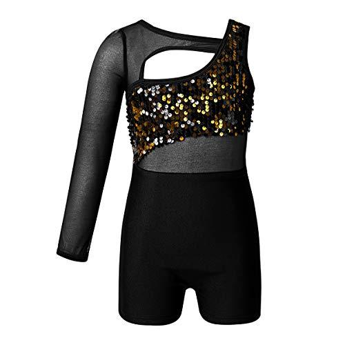 dPois Mädchen Tanzanzug Turnanzug EIN Ärmel Unitard Body Jumpsuit mit Pailletten Ballett Tanz Kostüm für Training Bühne Wettbewerb Schwarz 110-116/5-6 Jahre