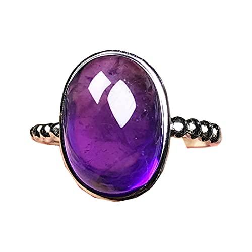 Anillos de amatista púrpura natural para mujer hombre, joyería de amatista de 15 x 12 mm, cuentas ovaladas de plata de cristal AAAAA