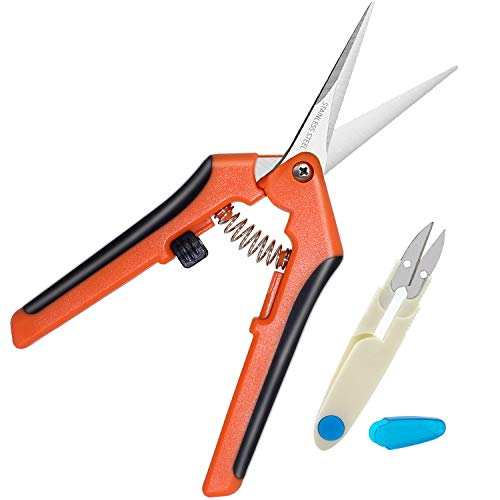 HyleJhJy Pruning Shears Hand Pruner Gardening Shears Florist Scissors Floral Snips Flower Trimmer with Straight Tip Stainless Steel Blades & Bonsai Pruning Scissors for Bud and Leaves Trimmer,Orange