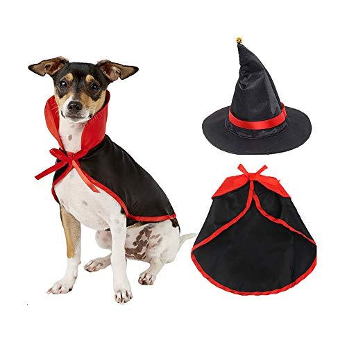 UNIIKE Disfraz de Halloween - Halloween para Mascotas Capa del Traje con Sombrero de la Bruja, la Fiesta de Halloween Vestido Accesorios para Las pequeas y Perros medianos,S