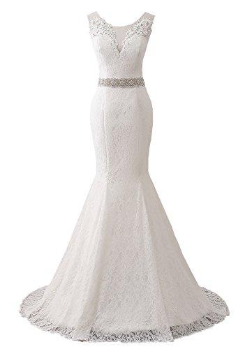 Changuan Women's Sweetheart Full Lace Beach Wedding Dress Mermaid Bridal Gown White-6