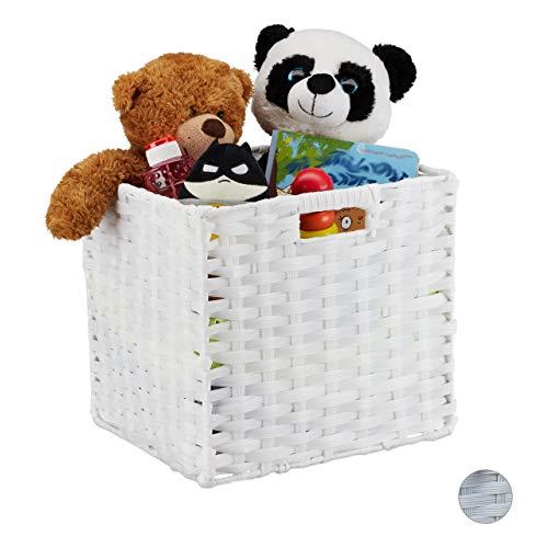 Relaxdays Aufbewahrungskorb, quadratischer PP-Korb für Bad u. Kinderzimmer, Regalkorb geflochten, 31x32x30 cm, weiß, 1 Stück