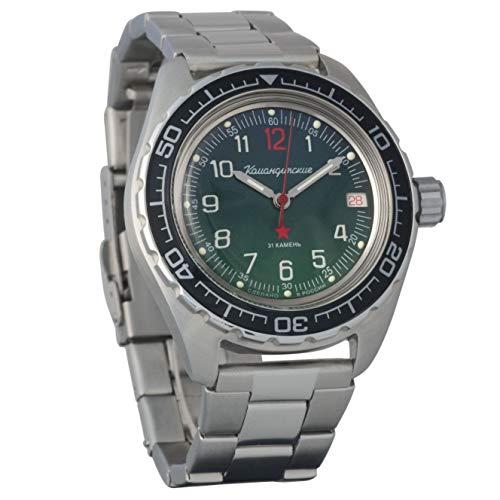 Vostok Komandirskie - Reloj de pulsera militar ruso automático WR 200 m, 020711_o, Pulsera