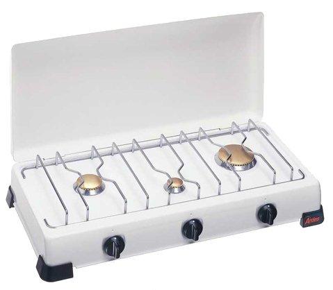 Ardes 9S03PG Tisch Gas Weiß - Platte (Tisch, Gaskochfeld, emailliert, weiß, Edelstahl, drehbar)