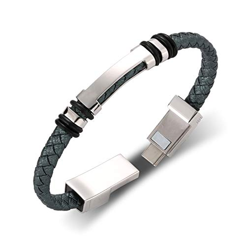 LOSSOT USB Charging Bracelet Data Charging Cord for iPhone Men- Retro H Bracelet Data Cable Bracelet -Durable Braided Leather Charging Wrist Cuff USB 8.6""