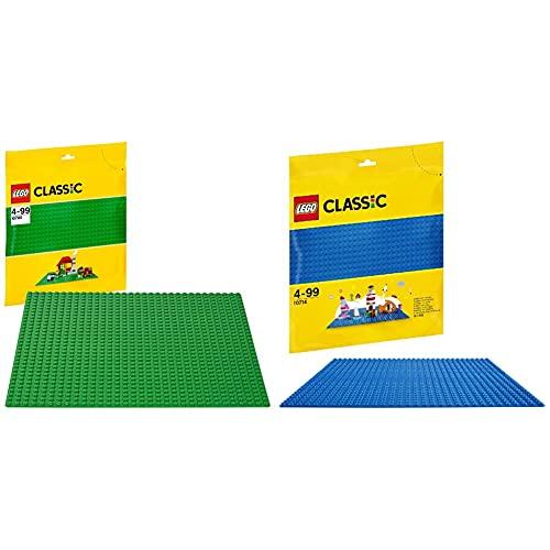 Lego Classic Base&Nbsp;Verde Extra&Nbsp;Per Costruzioni, Piattaforma&Nbsp;25 Cm X 25 Cm, 10700 & Classic Base&Nbsp;Blu Da Costruzione, 32X32 Bottoncini,&Nbsp;Giochi Creativi Per Costruttori, 10714