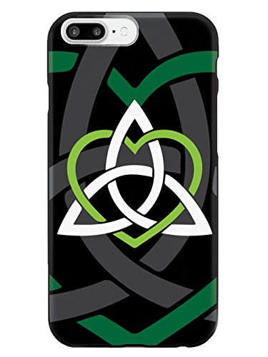 Inspired Cases - 3D Textured iPhone 8 Plus Case - Rubber Bumper Cover - Protective Phone Case for Apple iPhone 8 Plus - Celtic Sisters Knot - Green - Black