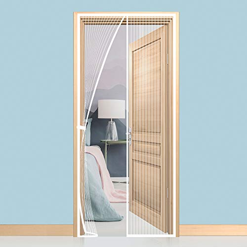 Gimars Cortina mosquitera doble magnetica puerta exterior sin tornillos, Mosquitera puerta corredera lateral con iman para terraza/habitacion Fácil de instalar (160 * 230 Blanco)
