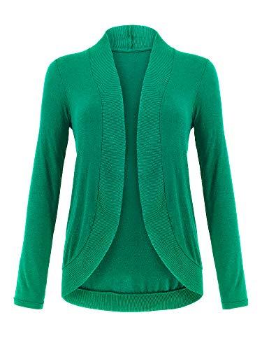 Spicy Sandia Cocoon Strickjacke für Damen, schmal, langärmelig, vorne offen, gemütlich, Grün - grün - Klein