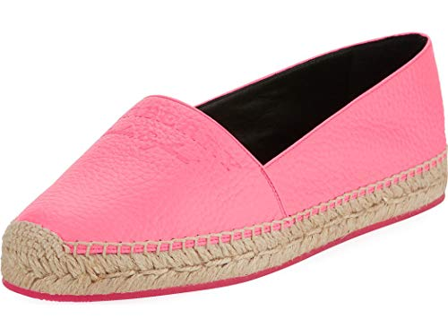BURBERRY Hodgeson Logo Neon Leather Espadrille Flat Shoes (39.5)