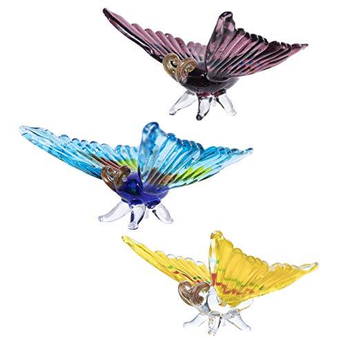 Crystalsuncatcher 3 piezas hechas a mano en miniatura de vidrio soplado lindo figura de polilla para el hogar colección