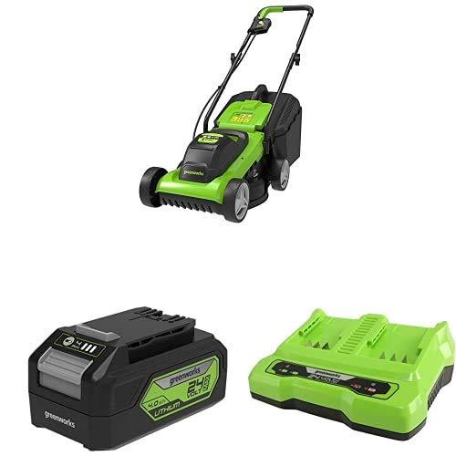 Greenworks Cortacésped con batería G24LM33 + Batería Potente y Recargable de Li-Ion 24 V 4.0 Ah (Pack de 2) + Cargador Universal de Batería de Doble Ranura G24X2C