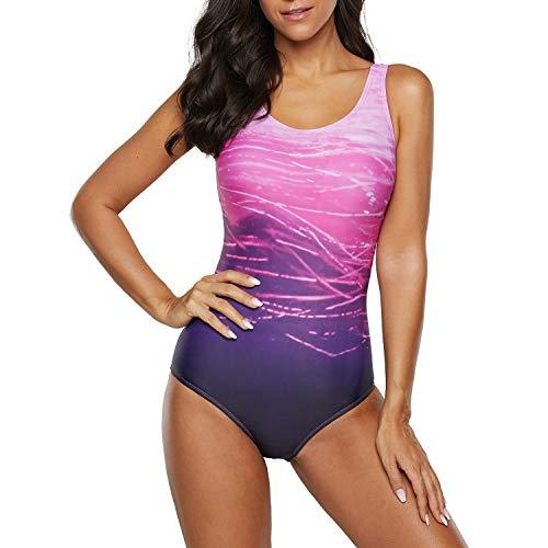 Preisvergleich Produktbild Jywmsc Damen Badeanzug Farbverlauf Kreuz Rückseite Einteiler Swimsuit Push up Große Größen Bademode Schwimmanzug