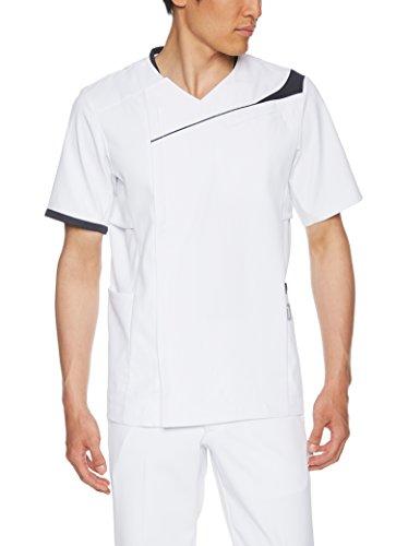 [アシックス] メンズ スクラブ 白衣 CHM854 ホワイト×ネイビー(CHM854-0109) 日本 L (日本サイズL相当)