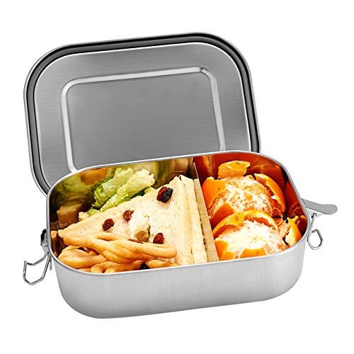 Shinemefly Edelstahl Brotdose 1400ml mit Trennwand, Lunchbox Auslaufsicher Vesperdose Lunch-Boxen, Bento Box Kinderleicht zu Reinigen Brotbüchse Brotzeitbox für Kinder & Erwachsene