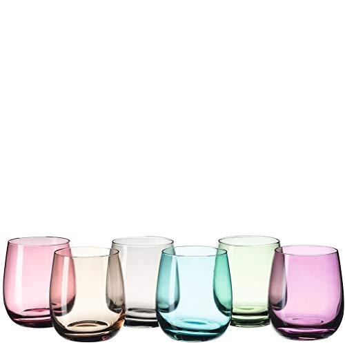 Leonardo Sora Trink-Gläser 6er Set, buntes Gläser-Set, spülmaschinengeeignete Saft-Gläser, Wasser-Gläser, Trink-Becher in 6 Farben 360 ml, 047289