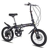 SHIN 16 Pulgadas Plegable De Aluminio Bicicleta De Paseo Mujer Bici Plegable Adulto Ligera Unisex Folding Bike Manillar Y Sillin Confort Ajustables,6 Velocidad,Capacidad 75kg / Negro