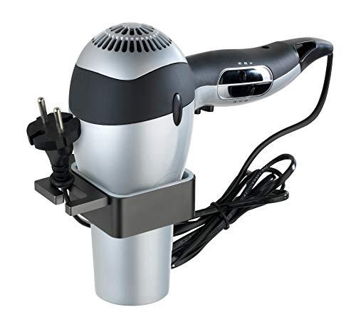 WENKO Soporte para secador Montella - Soporte mural para secador de pelo para atornillar, inoxidable, Aluminio, 12 x 3 x 12 cm, Antracita