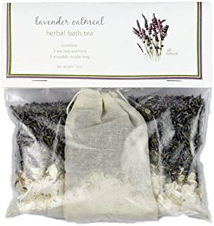 Lavender Oatmeal Bath Tea with Sample Soap - Relaxing, All Natural, Herbal Tub Tea 3-packs to Heal, Soothe, Soak and Recover
