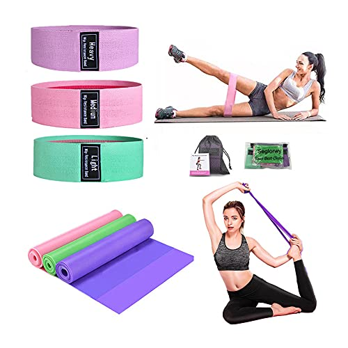 Seglorwy Resistance Bands Set for Legs and Butt, Exercise Bands for Working Out Exercise Home Fitness, 3 Pack Non-Slip Booty Bands and 3 Pack TPE Material Elastic Bands