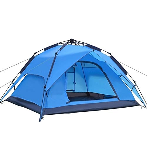 3-4 Person Family Tent Double Layer Instant Setup Protable Backpacking Tent Automatic Camping Tent for Hiking Travel Water-Resistant Ventilated and Durable (Color : Blue)