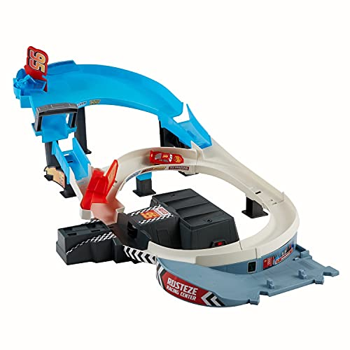 Disney and Pixar Cars Rusteze Double Circuit Speedway Playset Test Track Set for Drift, Race and Crash Competitions, with Lightning McQueen Vehicle, Kids Birthday Gift for Ages 4 Years and Older