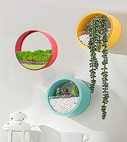 Set misto colorato di 3 fioriera da parete sospesa vaso da fiori in metallo cerchio porta piante per interni contenitore per piante verticali per decorazioni da parete (30cm,Rosso + Giallo + Blu)