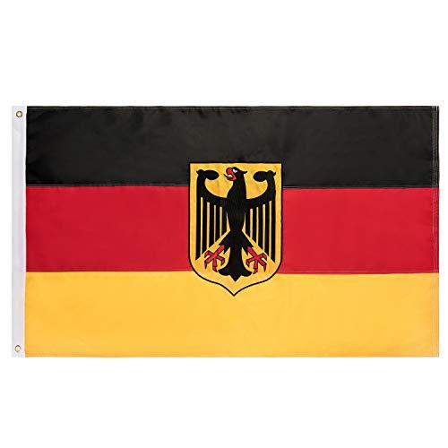 Lixure Deutschland Flagge/Fahne mit Alder 90x150cm für Windige Tage Durable 210D Nylon Draußen/Drinnen Dekoration Flagge Der Tag der Deutschen Einheit - Nicht billiger Polyester MEHRWEG