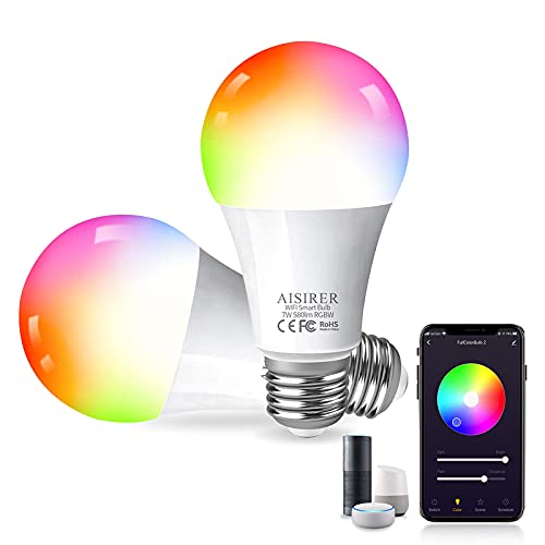 Smart Light Bulb, LED WiFi Smart Bulbs, Color Changing Alexa Light Bulb 60 Watts, Compatible with Amazon Alexa Google Home Siri, 2.4GHz WiFi No Hub Required, AISIRER A19 E26 Bulbs 2 Pack