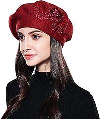 Baijiaye Boina Francés de Mujer Invierno Vasco Boinas de Lana Gorro Beret Beanie Cálido Sombrero de Pintor Elegante Rojo