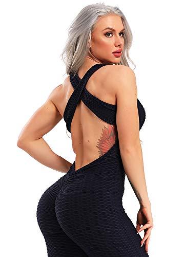 INSTINNCT Damen Sport Rückenfrei Jumpsuit Yoga Bodysuit Overall Leggings Sporthosen Bandage Playsuits Jogging Strampler Hosenanzug Trainingsanzug #1 Dunkelblau Small