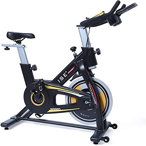 ISE Bicicleta estática de fitness Cardio Ejercicio Bike interior, volante de 15 kg, con programa y pantalla silenciosa, manillar y asiento ajustables, máx. 120 kg, SY-7909 naranja