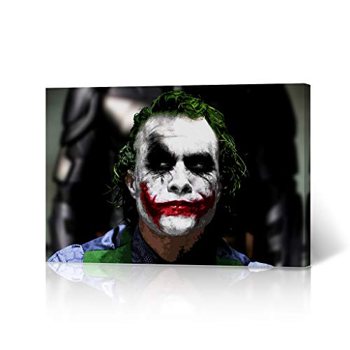 HB Art Design Heath Ledger The Joker Smile Portrait Canvas Wall Art The Dark Knight Digital Painting Decorative Home Decor Poster Living Room Dorm Decor- Ready to Hang - Made in The USA - 11x17