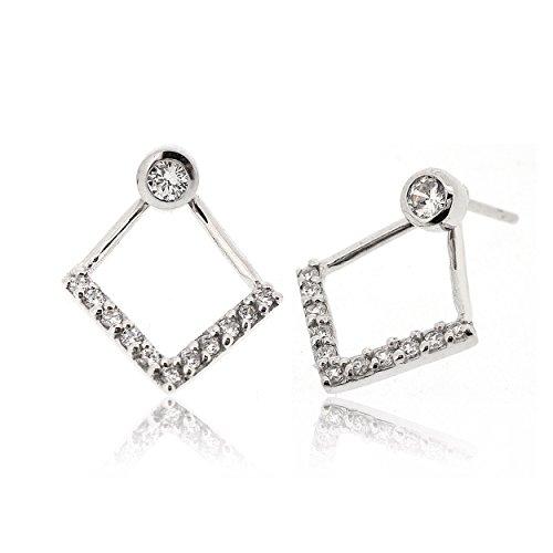 Sovats tweeweg V-lijn oorbel voor dames, bezet met witte zirconia 925 sterling zilver gerhodineerd - eenvoudige, stijlvolle voor- en achterkant oorbellen en trendy nikkelvrije oorbel