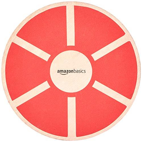Amazon Basics, Balance board oscillante in legno, Rosso