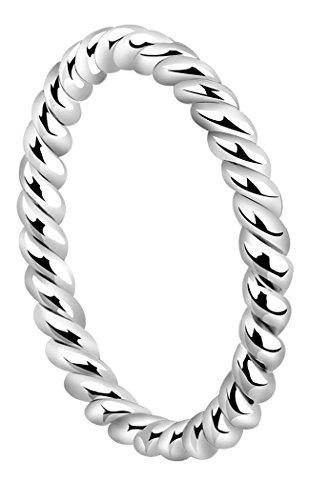 Nenalina Damen Ring Silberring Kordelring mit polierter Oberfläche, handgearbeitet aus 925 Sterling Silber, 313091-000 Gr.52