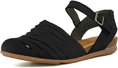 El Naturalista Femme Sandale à lanières Stella, Dame Sandales,Sandale,Chaussure d'été,Sandale d'été,Confortable,Plate,Noir (Black /),39 EU / 6 UK